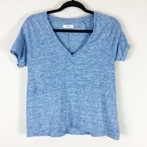 Madewell V Neck Heathered Blue Linen Tee Size XS